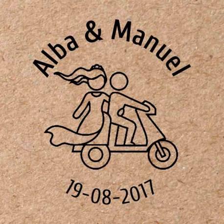Sello para boda Moto 2