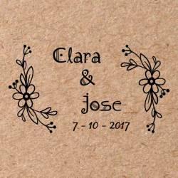 Sello para boda Flores