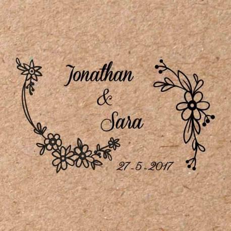 Sello para boda Flores 2