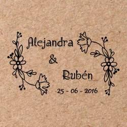 Sello para boda Flores 3