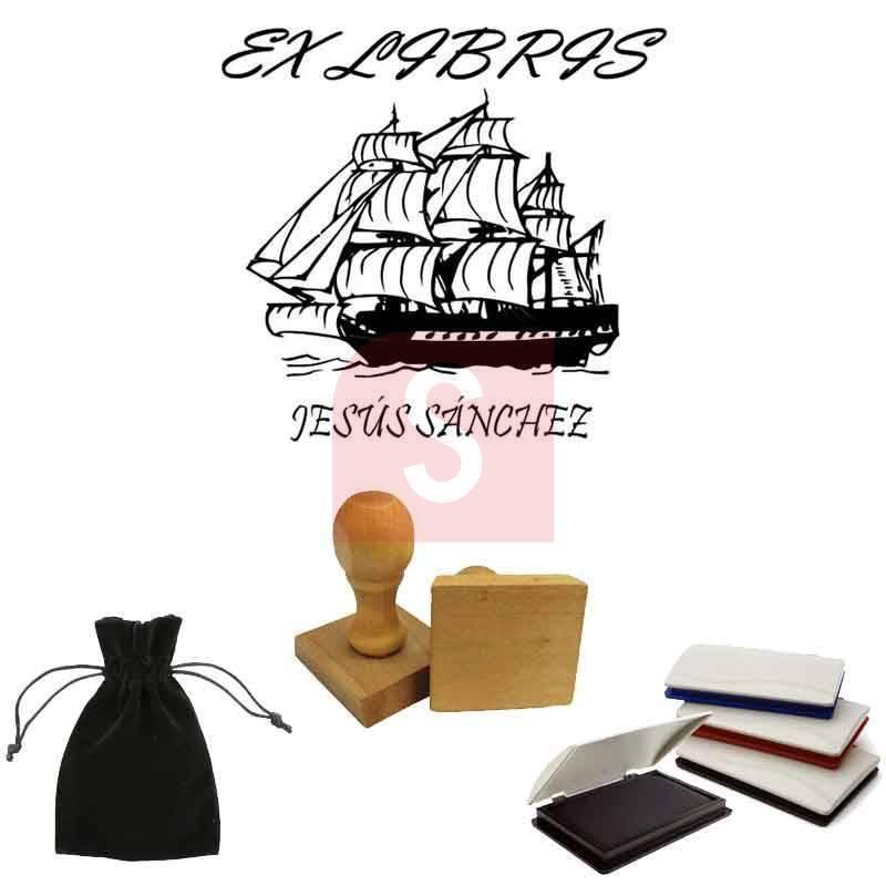 Sello ex libris personalizado modelo barco - Ex libris personalizados ...